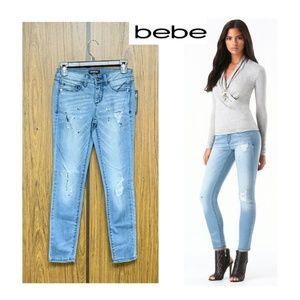 NEW Bebe Milky Way Skinny Jeans Paint Splattered